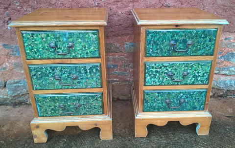 200.....A Pair Of Vintage Stripped Pine Bedside Cabinets / Bedside Chests / Lamp Tables