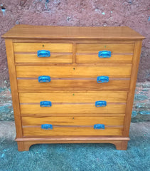 Vintage Hand Stripped Chest Of Drawers - Satin Walnut Chest