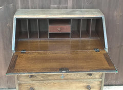 Lovely Vintage Carved And Faded Oak Bureau - Old Charm Style Writing Desk