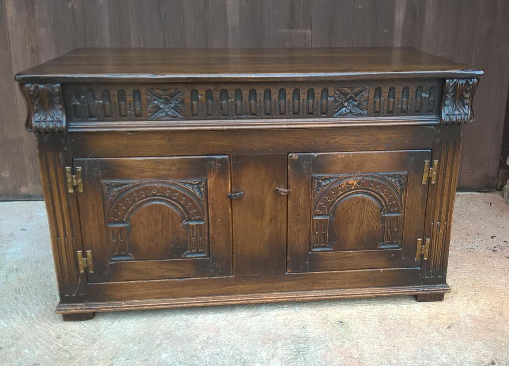 Upcycled Carved Solid Oak Coffer With Opening Doors - Blanket Chest - Coffee Table