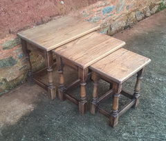 Rustic Vintage Nest Of Oak Tables Made By Jaycee