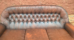 Vintage Leather Deep Buttoned Sofa - Leather 3 Seater Settee