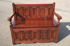 Small Vintage Carved Oak Settle - Gorgeous Old Charm Style Bench Seat