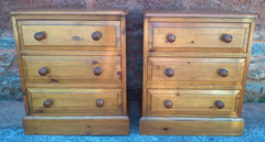Gorgeous Pair Of Heavy Pine Bedside Chests - Pine Bedside Cabinets