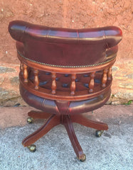 Gorgeous Vintage Oxblood Leather Desk Chair - Chesterfield Style Captains Chair