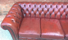 Chesterfield Leather Sofa - Vintage 3 Seat Settee -