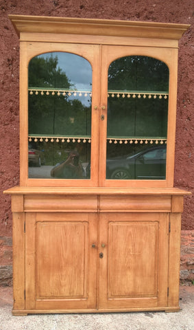 235.....Gorgeous Antique Pine Glazed Dresser / Country Pine Bookcase