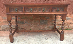 236.....Stunning Vintage Old Charm Carved Oak Writing Table / Desk / Library Table