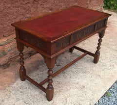 Stunning Vintage Old Charm Carved Oak Writing Table / Desk / Library Table