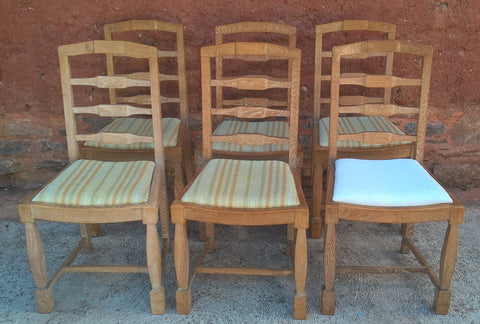 237.......Set Of Six Arts And Crafts Limed Oak Dining Chairs