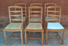 Set Of Six Arts And Crafts Limed Oak Dining Chairs
