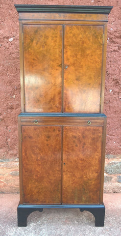 238..... Stunning Burr Walnut Drinks Cabinet / Vintage Cocktail Cabinet