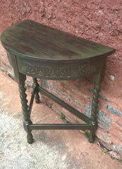 Vintage Oak Hall Table / Carved Oak Demi Lune Table