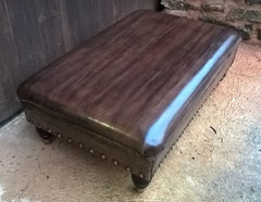 Gorgeous Vintage Leather Stool / Chesterfield Style Leather Footstool
