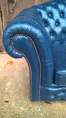 Stunning Vintage Dark Blue Chesterfield Style Leather Sofa