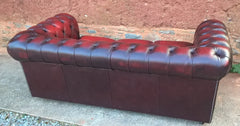 Leather Chesterfield 3 Seat Sofa / Chesterfield Dark Red Sofa