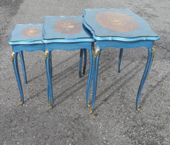 VINTAGE LOUIS XV STYLE INLAID NEST OF TABLES