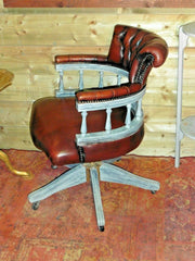410.....Vintage Leather Desk Chair / Chesterfield Style Captains Chair