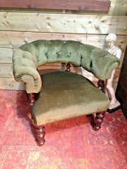 179.....Handsome Victorian Mahogany Club Chair / Antique Chesterfield Style Armchair
