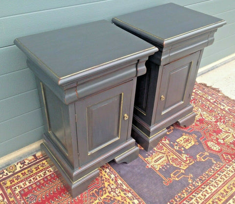 185.....Stunning Pair Of Refinished Bedside Cabinets / Vintage Bedside Cupboards ( SOLD )