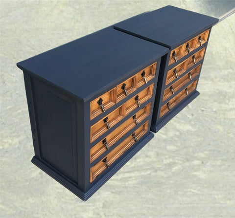 114.....Handsome Pair Of Pine Bedside Chests / Rustic Small Chests