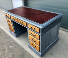 120.....Handsome Vintage Mahogany Pedestal Desk ( SOLD )
