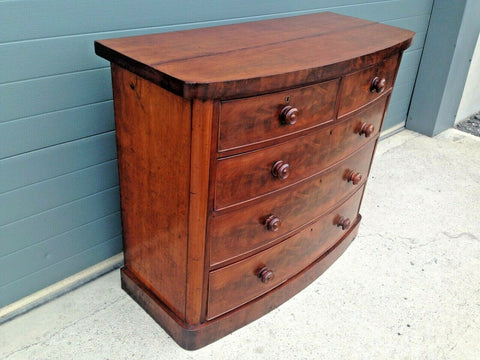 193.....Antique Chest Of Drawers / Flame Mahogany Bow Front Chest ( SOLD )