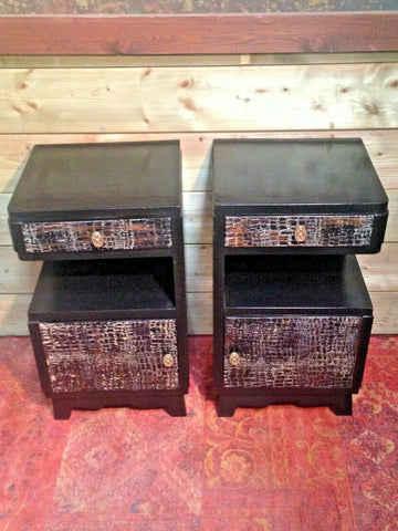 198.....Stunning Pair Of Art Deco Bedside Cabinets / Vintage Bedside Tables