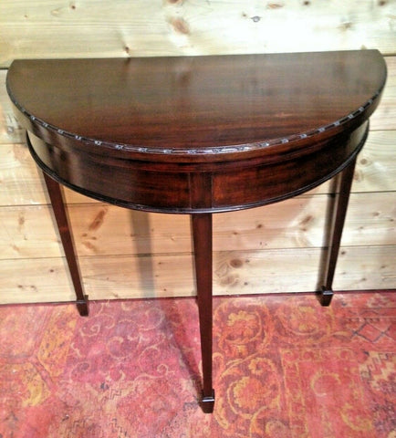 194.....Mahogany Dem Lune Card Table / Vintage Hall Table ( SOLD )