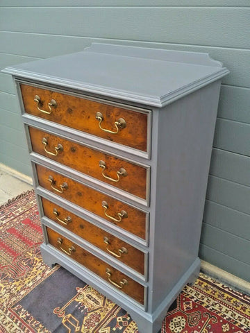 176.....Handsome Vintage Yew Tallboy Chest Of Drawers ( SOLD )