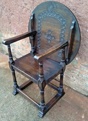 256.....Vintage Carved Oak Monks Chair / Vintage Hall Chair