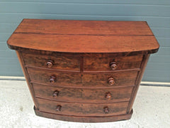 193.....Antique Chest Of Drawers / Flame Mahogany Bow Front Chest