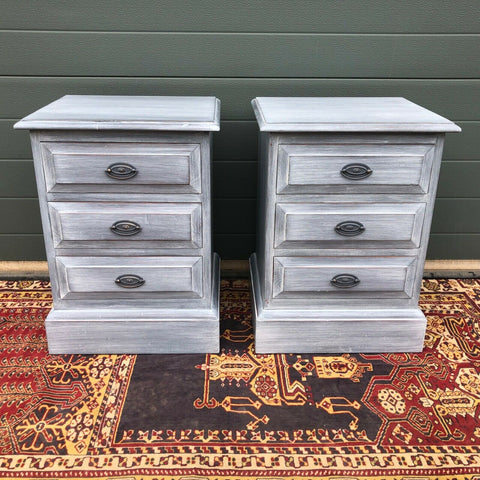 163.....Pair Of Vintage Bedside Chests / Refinished Bedside Tables