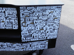 Fabulous Fornasetti Decoupage Vintage Art Deco Sideboard / Cocktail Cabinet