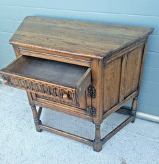 196.....Vintage Carved Oak Credence Cupboard / Old Charm Style Hall Table