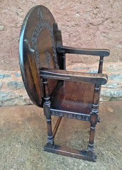 Vintage Carved Oak Monks Chair / Vintage Hall Chair