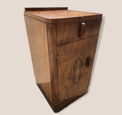 126.....Gorgeous Bur Walnut Art Deco Bedside Cabinet ( SOLD )