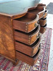 158.....Handsome Vintage Figured Walnut Desk / Reprodux Nine Drawer Desk ( SOLD )