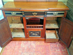191.....Stunning Vintage Carved Walnut Sideboard / Hand Decorated Sideboard (SOLD)