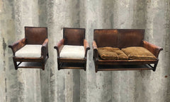 117.....Gorgeous Vintage Leather Sofa And Two Armchairs ( SOLD )