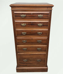 116.....Handsome Antique Solid Walnut Tallboy Chest Of Drawers