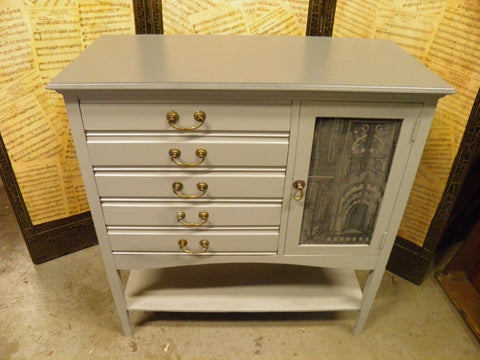 216.....Decorative Elegant Vintage Grey Painted & Decoupage Music Cabinet