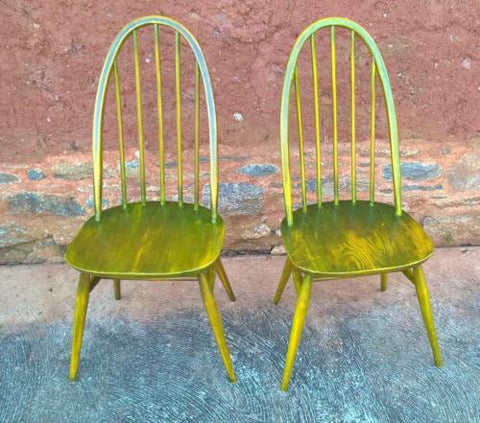 193.....Pair Of Upcycled Ercol Kitchen Chairs