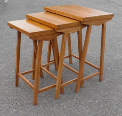 TEAK NEST OF TABLES ARTS AND CRAFTS STYLE