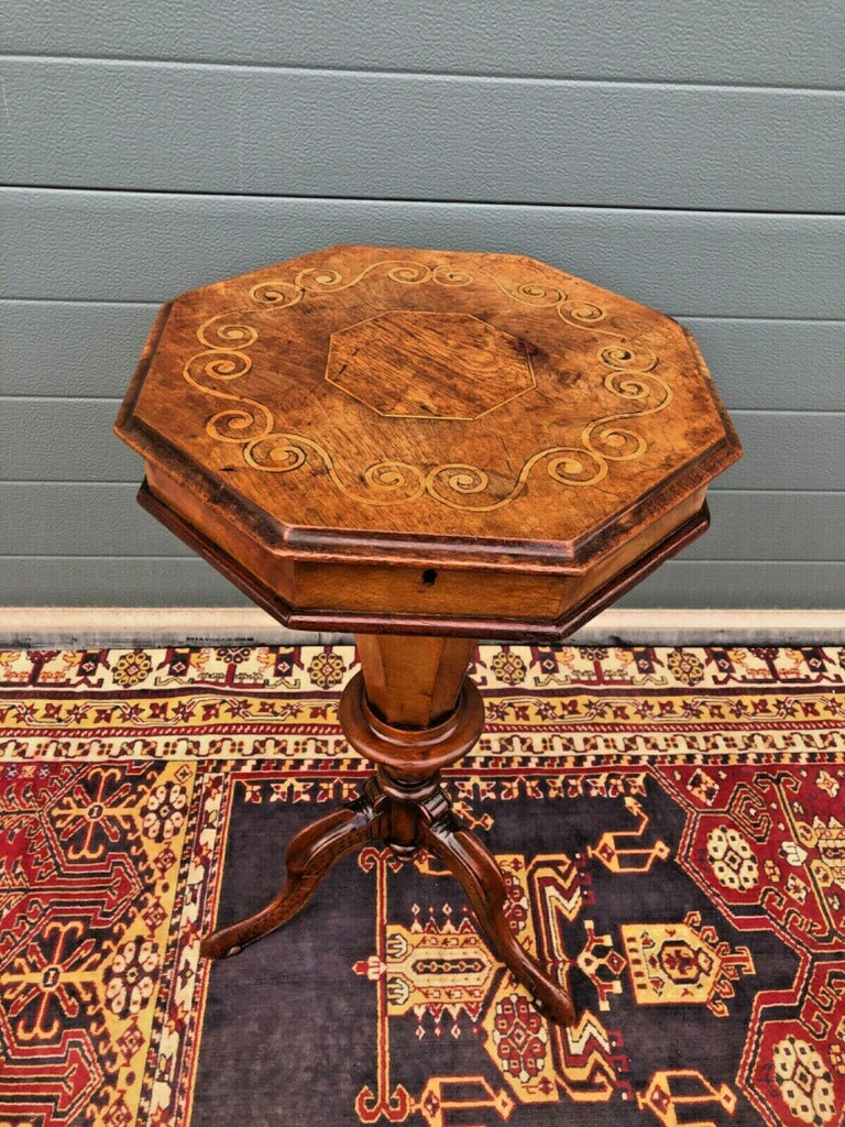 167.....Victorian Inlaid Trumpet Sewing Table / Antique Hexagonal Sewing Box