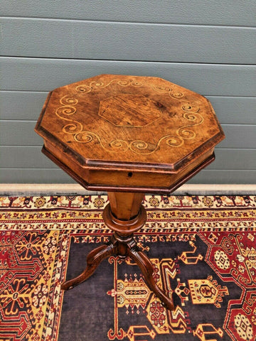 167.....Victorian Inlaid Trumpet Sewing Table / Antique Hexagonal Sewing Box ( SOLD )