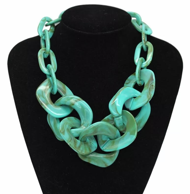 Acrylic Chunky Chain Necklace - Turquoise