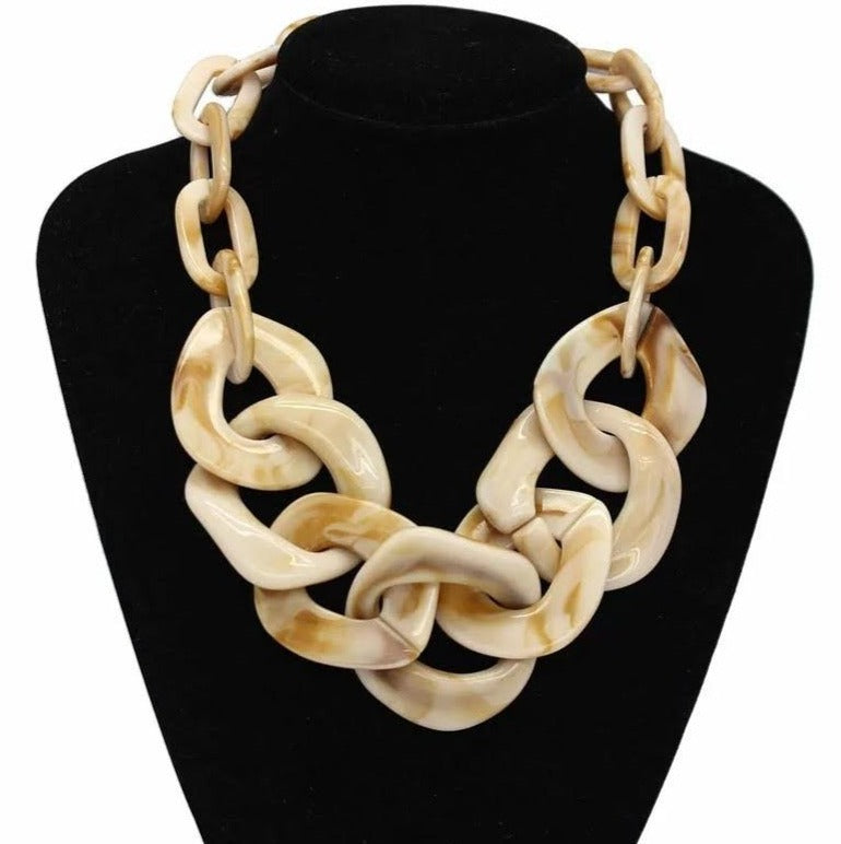 Acrylic Chunky Chain Necklace - Tan