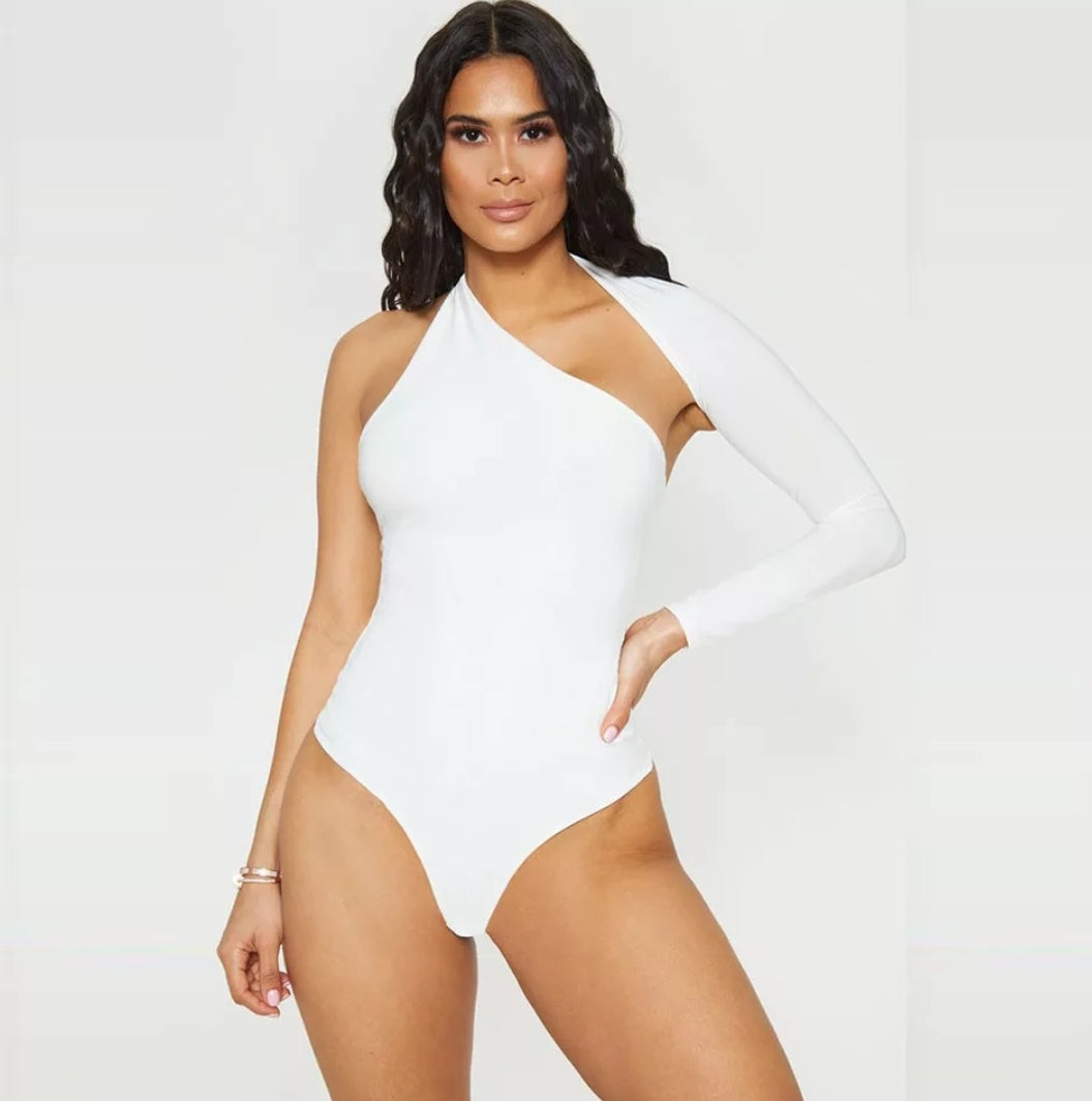 Cross Body Bodysuit - White