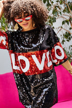 Load image into Gallery viewer, Love Sequin T-Shirt Dress - Black